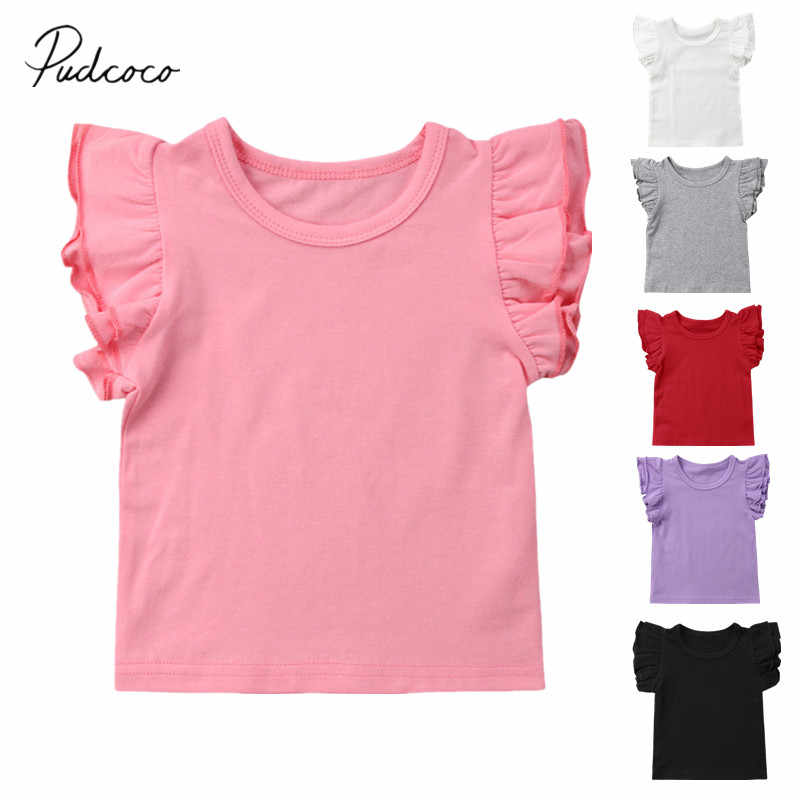2019 Baby Summer Clothing Toddler Baby Girls Boy Flying Sleeves Tops Shirts Outfits Kid Solid Clothes Tee 0-4T