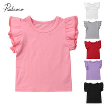 2019 Baby Zomer Kleding Peuter Baby Meisjes Jongen Vliegende Mouwen Tops Shirts Outfits Kid Solid Kleding Tee 0-4 T(China)