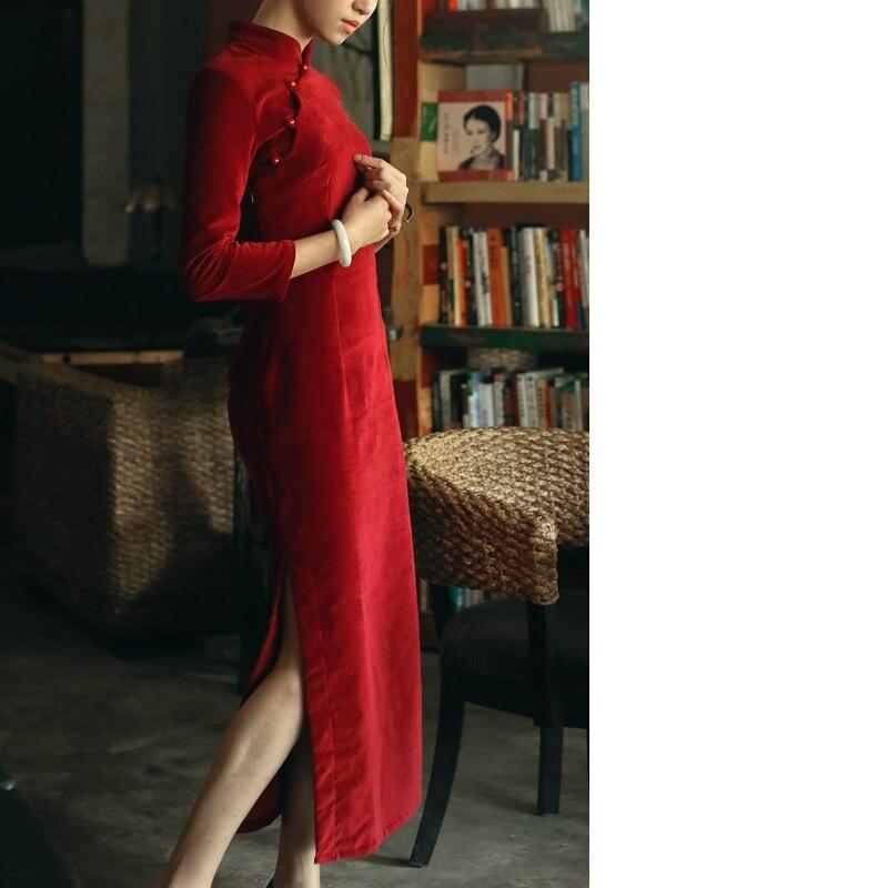 Mince Hiver Cheongsam Femmes Long Qipao Coton Épais Automne Flocage Lady Rétro Dress Ybg7f6vy