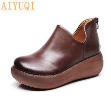 AIYUQI Women's shoes on the platform 2019 new women vintage shoes genuine leather wedges platform shoes spring casual footwear цена 2017