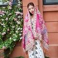 2017 новый зимний Хлопок Шарфы Индии женщины Национальный стиль пашмины Двусторонняя Жаккардовые Кисточкой Шаль теплый шарф платок 180*70 см