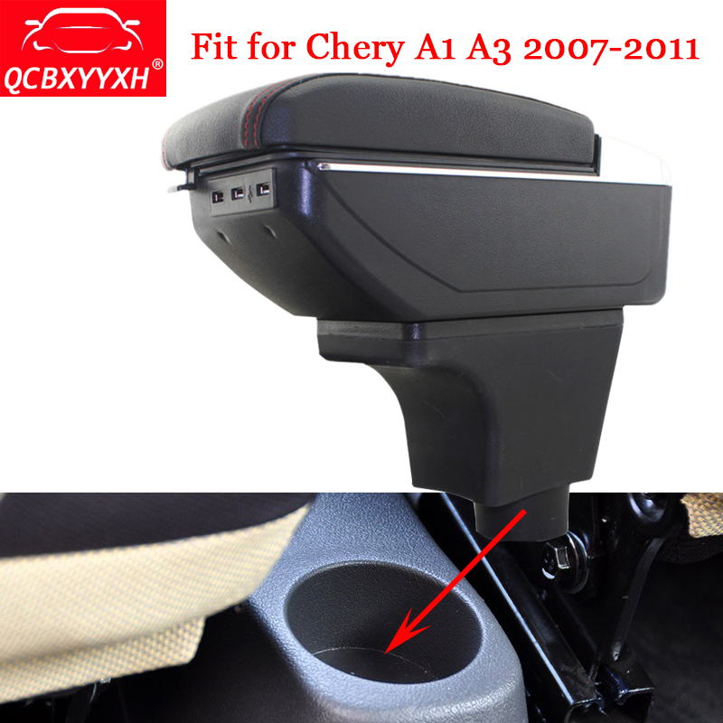 QCBXYYXH For Chery A1 A3 2007-2011 Car ABS&USB Armrest Box Center Console Storage Box Decoration Holder Case Auto Accessories