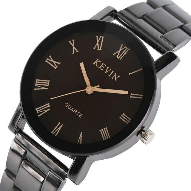 c8593cb1ffd Mulheres Relógios de marca KEVIN Moderno Simples Relógio de Quartzo  Analógico Banda de Aço Inoxidável Preto