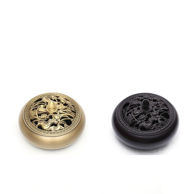 2 couleurs en céramique laiton plaqué brûleur d'encens creux fleur bâton d'encens contre support maison parfum décors encensoir fumée