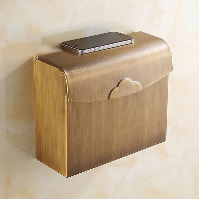 all copper Paper Holder Roll Tissue Holder Hotel works Toilet Roll Paper Tissue Holder Box Surface antique drawing treatment black of toilet paper all copper toilet tissue box antique toilet paper basket american top hand cartons