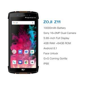 "Image 2 - HOMTOM ZOJI Z11 IP68 Wasserdicht Staub Proof 10000 mAh Smartphone 4 GB 64 GB Octa Core Handy 5,99"" 18:9 gesicht ID 4G Handy"