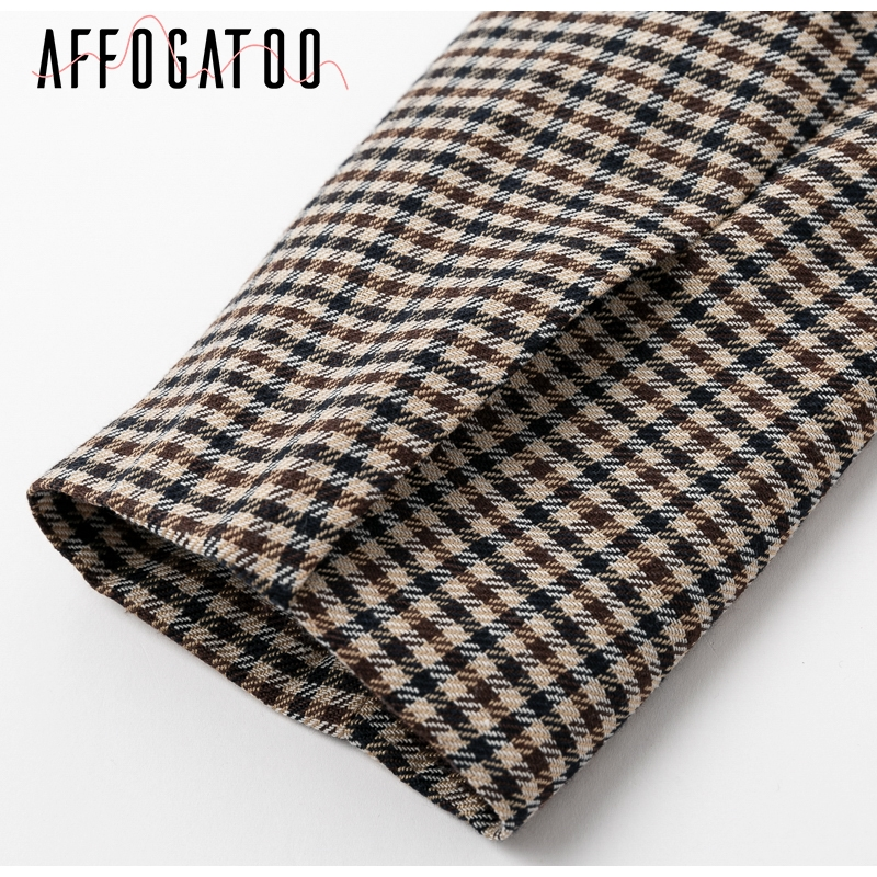 Affogatoo Fashion double breasted plaid blazer women Long sleeve slim OL blazer 18 Casual autumn jacket blazer female 10