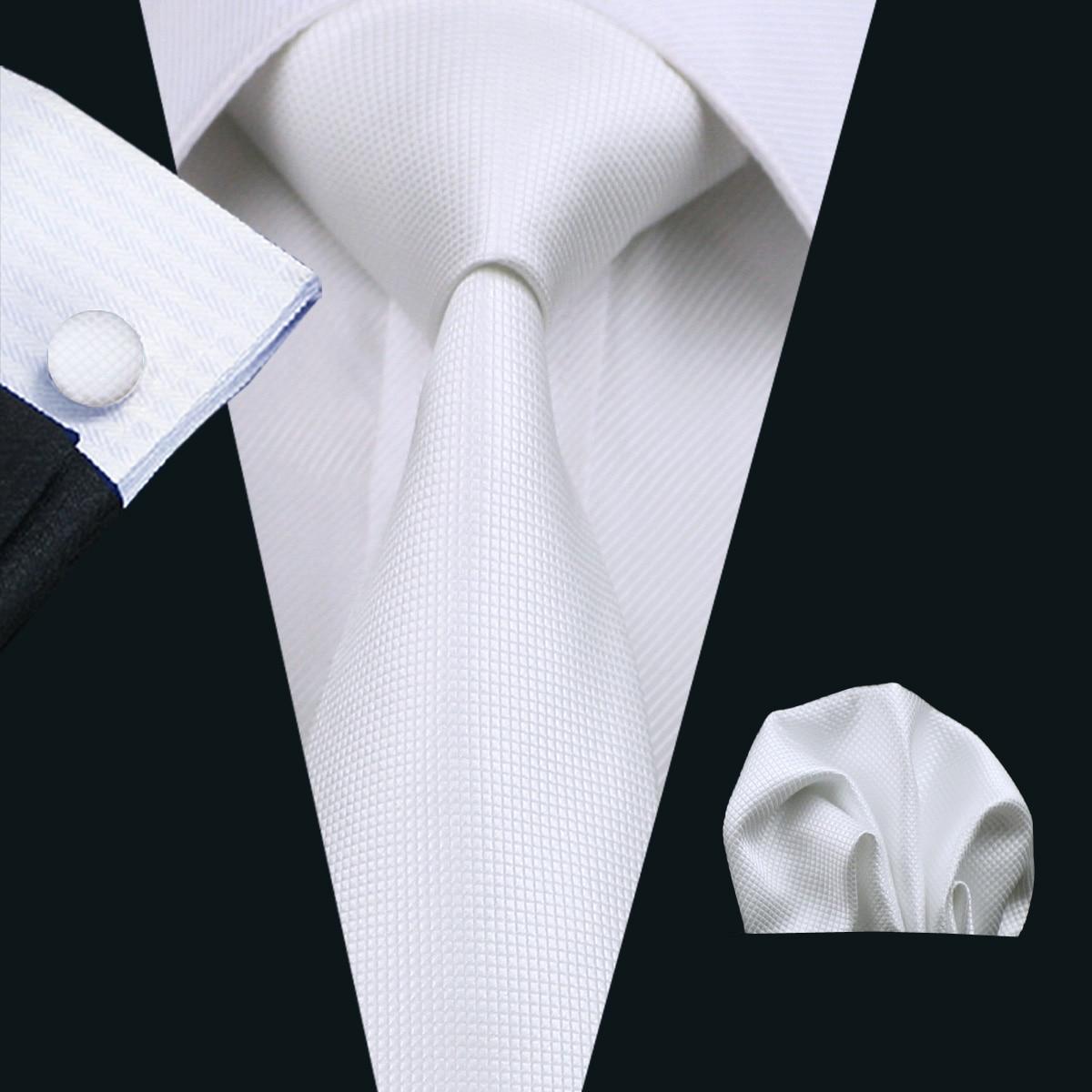 2018 2015 Design New Men's Necktie White Solid Color Plain ...