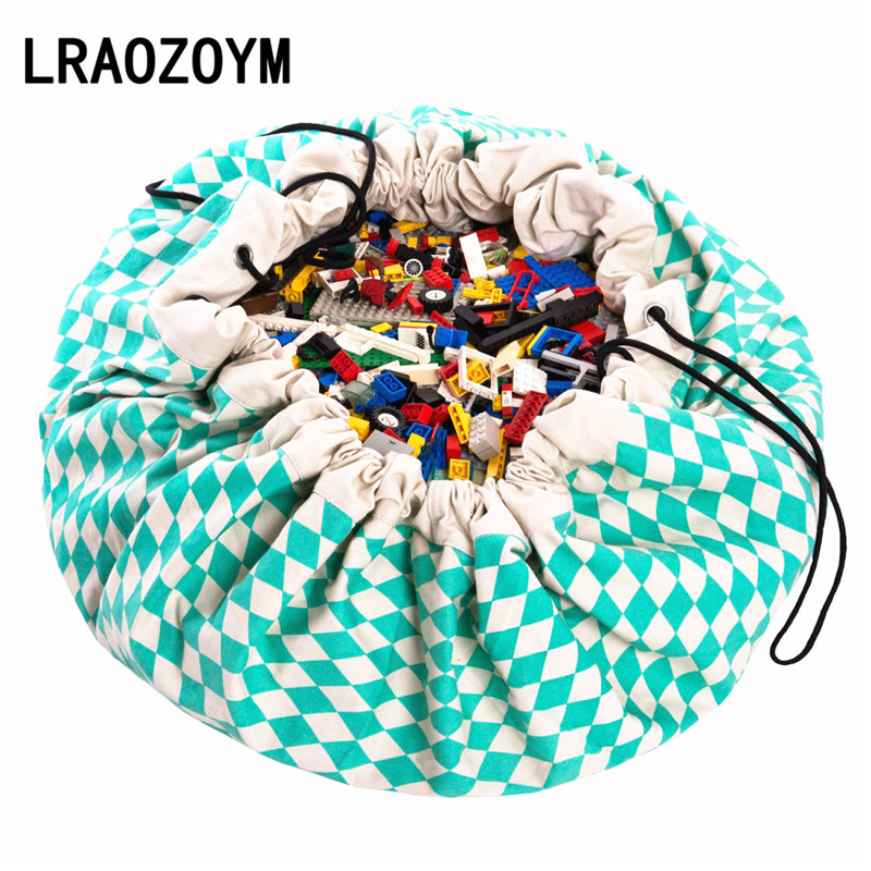 LRAOZOYM High Quality Pure Cotton Large Storage Organizer Play Game Mat Kids Children Toys Hanging Bag Green Diamond Pattern