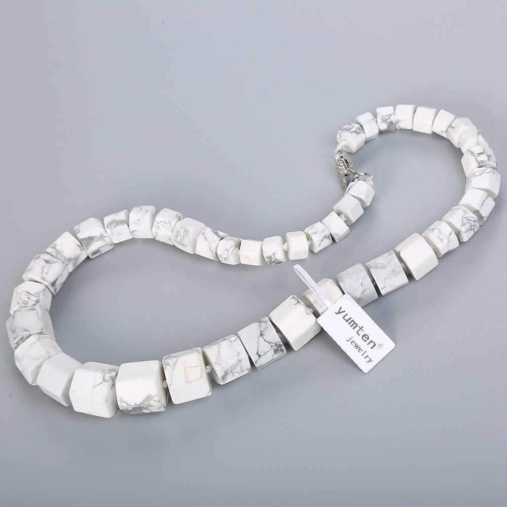 Yumten Magnesita Natural Homens Colar de Diamante Grande Colar Declaração Boêmio Mulheres Branco Turquesa Pedra de Cristal Jóias Finas