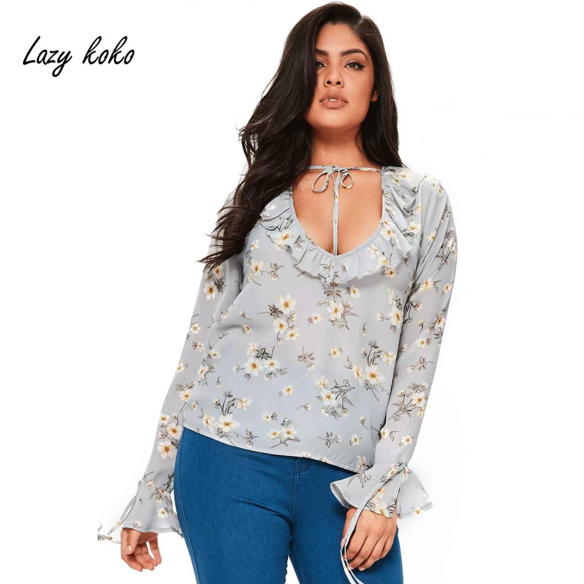 Lazy KoKo Plus Size Women Clothing Floral Printed Hollow Out Straped Ruffles Cute Blouse Big ...