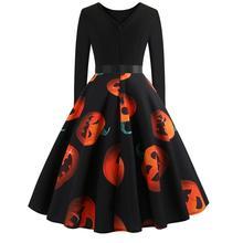 Hot Sale Vintage Women 2018 Halloween Pumpkin dress  Head Vintage Printing Long Sleeve Flare Dress