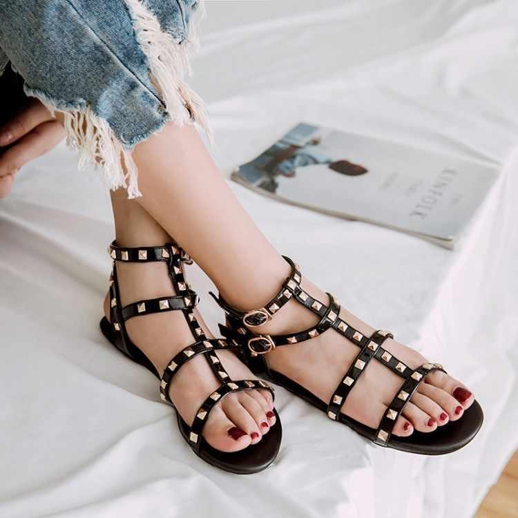 Size Lớn 9 10 11 12 mùa hè đế bằng nữ giày nữ người phụ nữ Khoét Hở ngón chân đinh tán ban nhạc