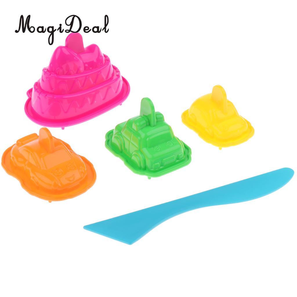 MagiDeal Set of 5 Plastic Building Sand Molds Beach Sandcastle Sand Box Kid Toy – Car
