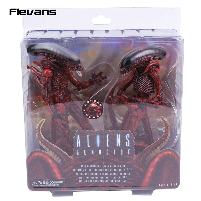 NECA Aliens Genocide Xenomorph Big Chap & Dog Alien Concept PVC Action Figure Collectible Model Toy 2-pack neca aliens 1 4 scale xenomorph warrior super big pvc action figure collectible model toy 18 retail box ems free shipping wu600