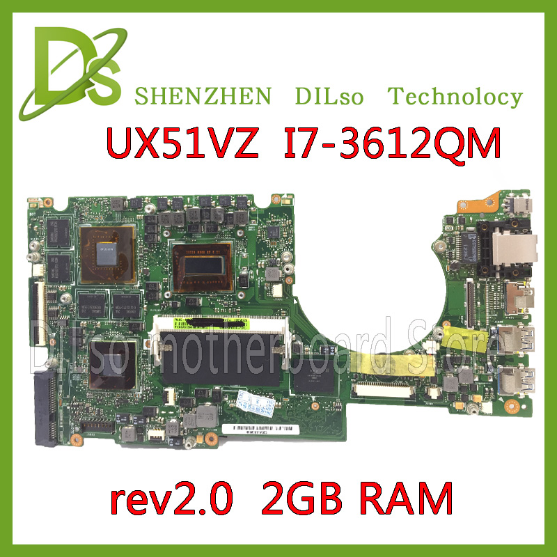 KEFU UX51VZ For UX51VZ Laptop Motherboard For ASUS Onboard I7 Cpu UX51VZ Mainboard REV2.0 With Graphics Card
