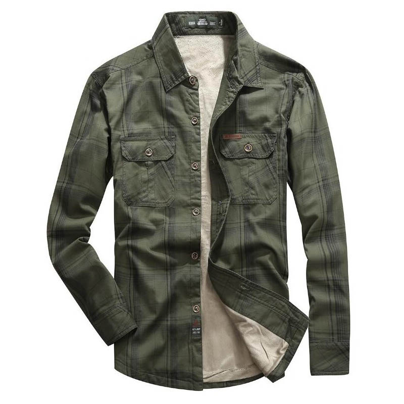 Brand Shirt Mens Shirts Fleece Warm Winter Shirt Men Plaid Cotton Camisa Masculina Military Casual Shirts Plus Size M-5XL