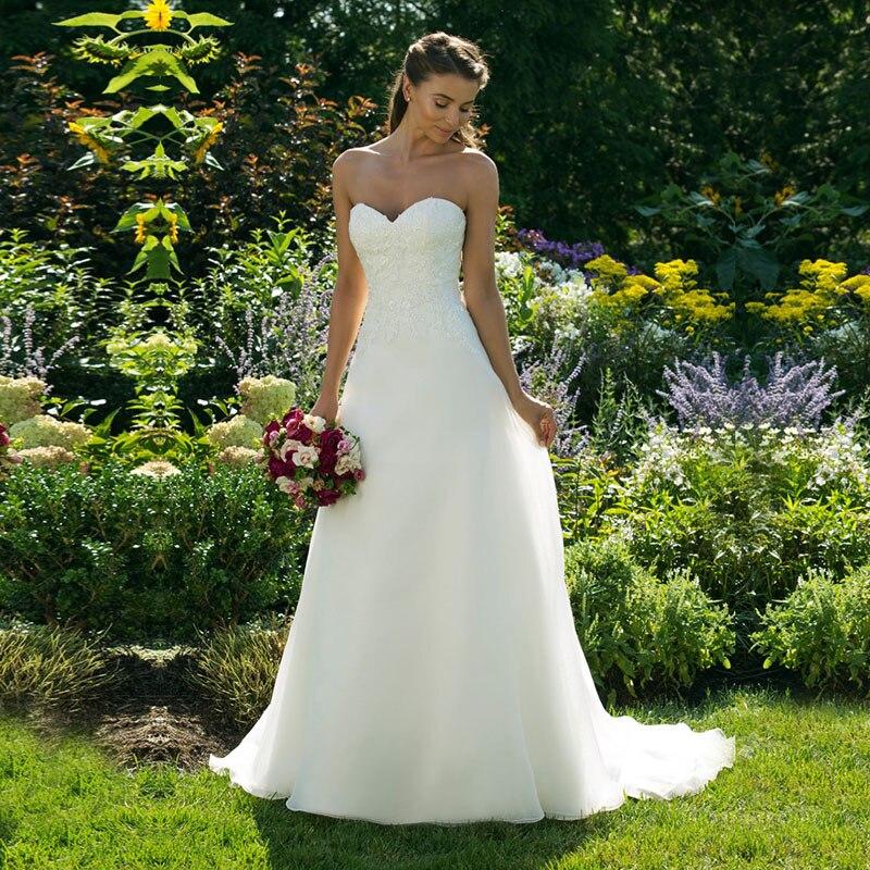 Robe de mariée Vintage de quatre-vingts Boho Appliques dentelle chérie une ligne robe de mariée princesse Train robes de mariée personnalisées madeSexy