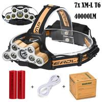 40000 LM 7X XM L T6 LED Rechargeable Bike Riding Running Headlamp Headlight Travel Head Torch Waterproof Adjustable Base P40