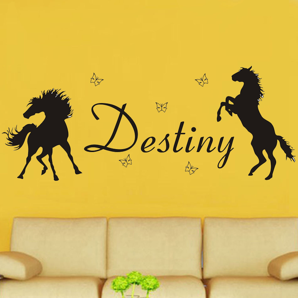 POOMOO Decals Horses & Butterflies Girls Personalised Any Name Vinyl ...