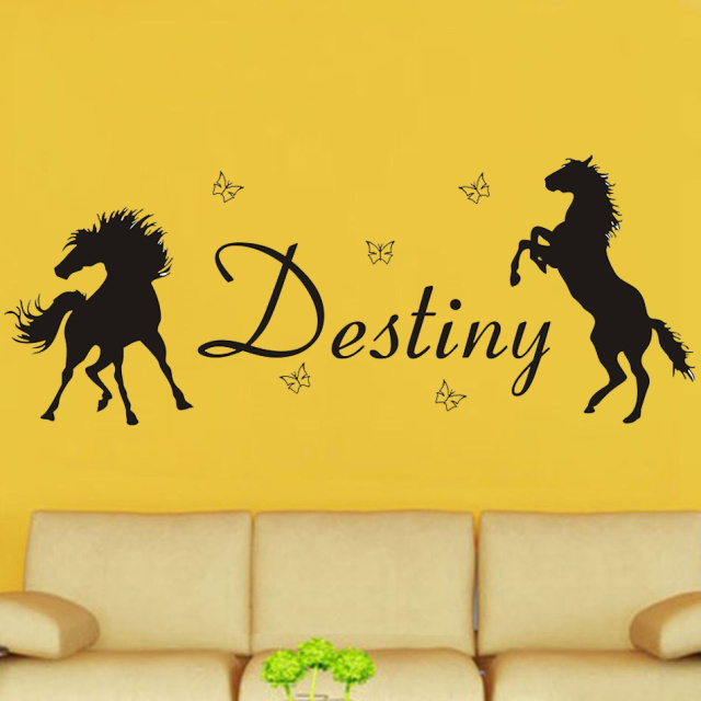 Poomoo decals horses butterflies girls personalised any name vinyl wall art decal kids nursery sticker
