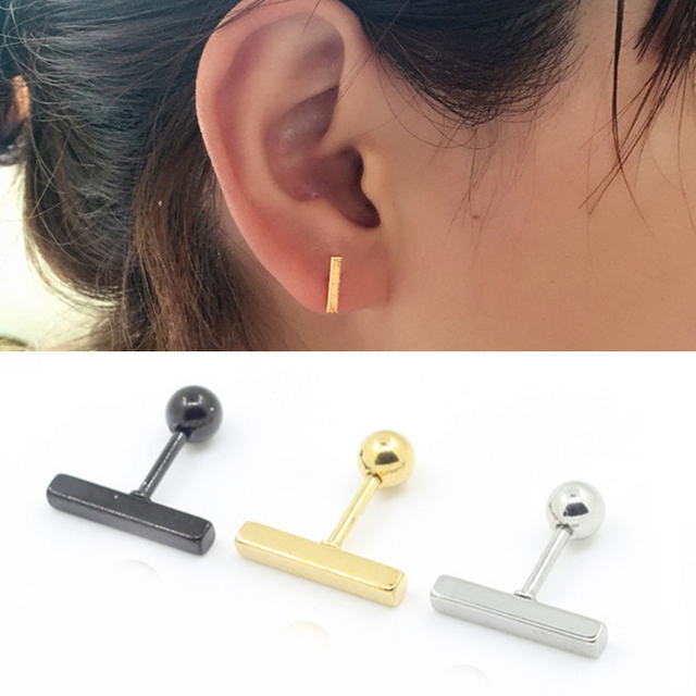 2pcs Lot 3 Colors Straight Square Ear Cartilage Tragus Earring For Women Helix Barbell