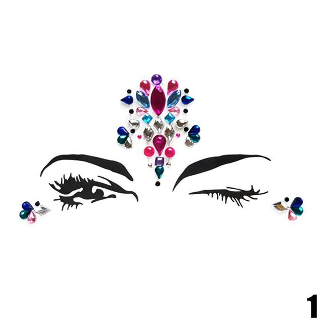Adhesive Face Temporary Tattoo Sticker Gems Rhinestone Jewels Festival  Party Body Glitter Stickers Flash Temporary Tattoos d58eca723412