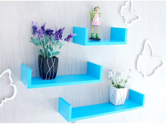 3pieces Lot U Shaped Wall Shelf Wooden Display Shelves Modern Blue Red