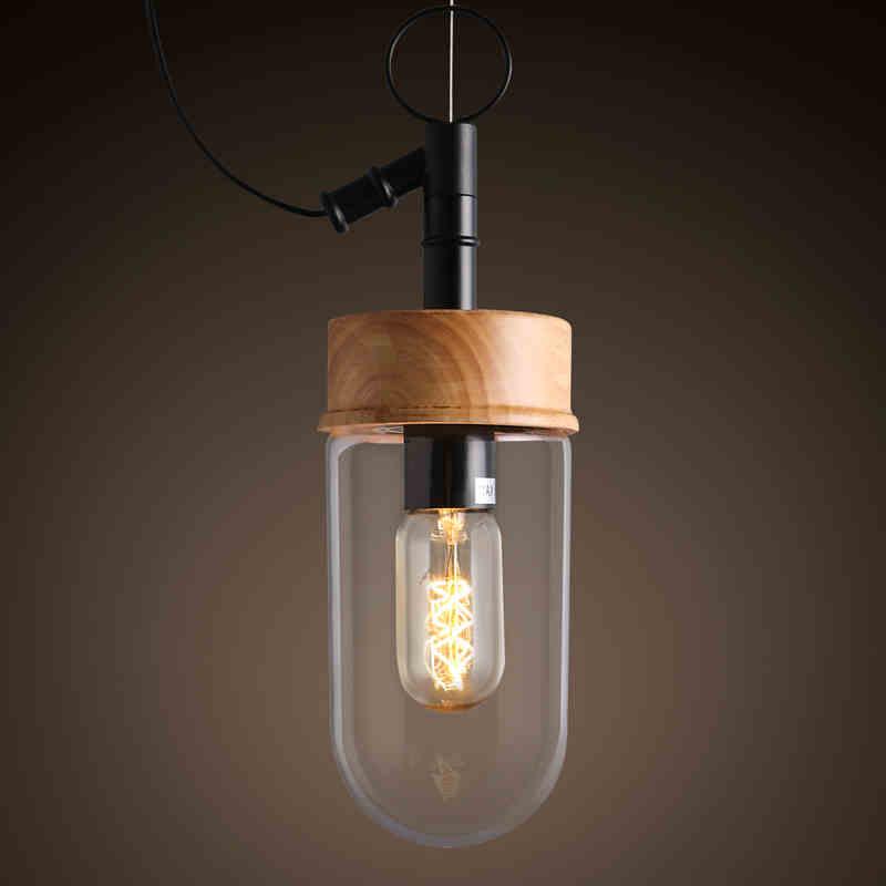 Art lamp lamp solid wood glass single head chandelier small fresh Cafe Bar Restaurant glass decorative lamp art lamp