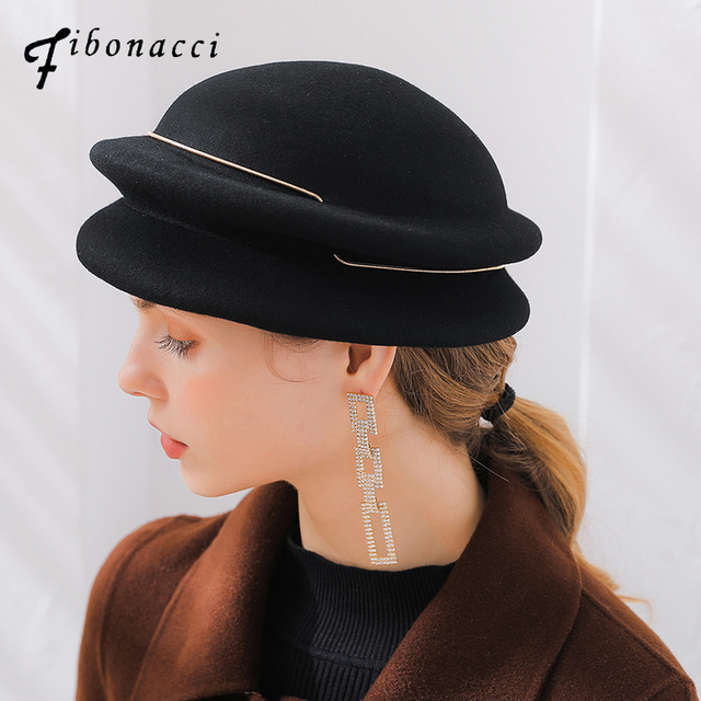 929e44a20 US $21.8 10% OFF Fibonacci 2018 New Brand Quality Women's Beret Autumn  Winter Fedora Hats Metal Ring Elegant Banquet Wool Felt Hat-in Berets from  ...
