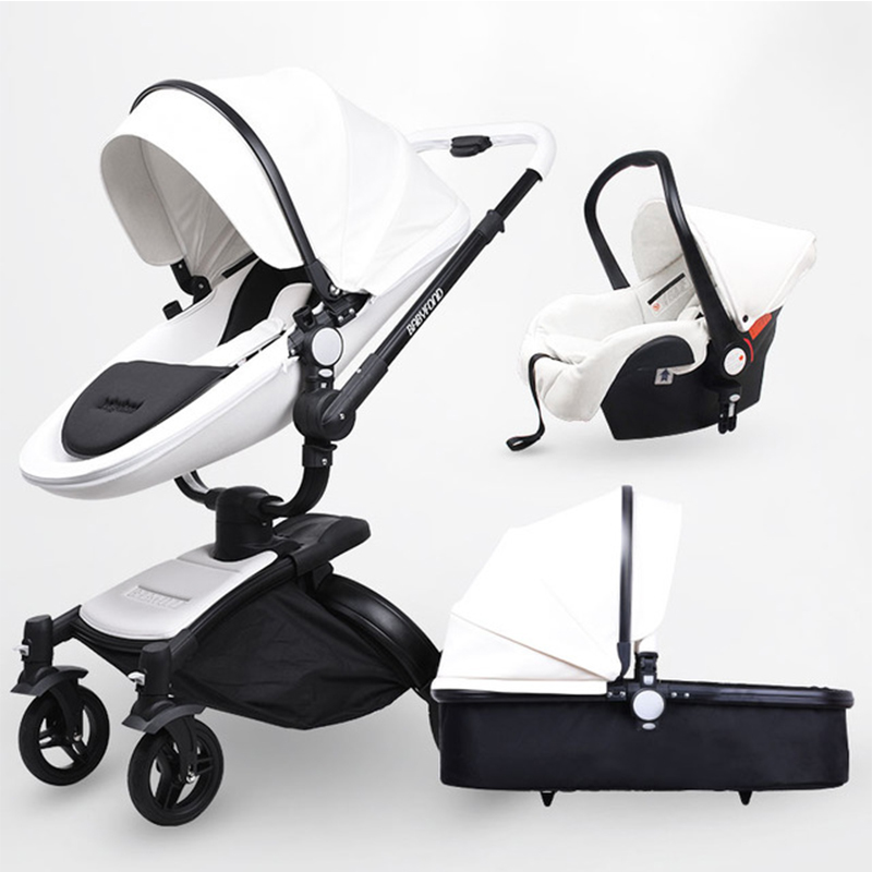 2019 New Branded Baby Carriage, 3 Pcs,3 In 1, Baby Stroller, Leather, Baby Carriage, Euro Car Seat, Basket, Cradle For Newborns