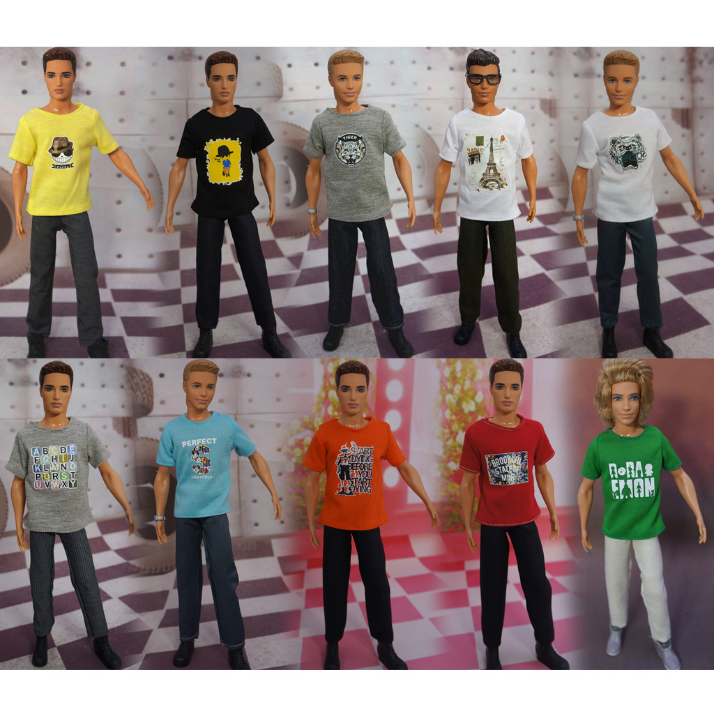 1/6 Scale Dolls Casual Outfit Clothes Short Sleeve Tee Top & Jeans Pants Trousers Suit for Barbie Boyfriend Ken Doll Accessories streetwear short sleeve mccall 11 boyfriend tee