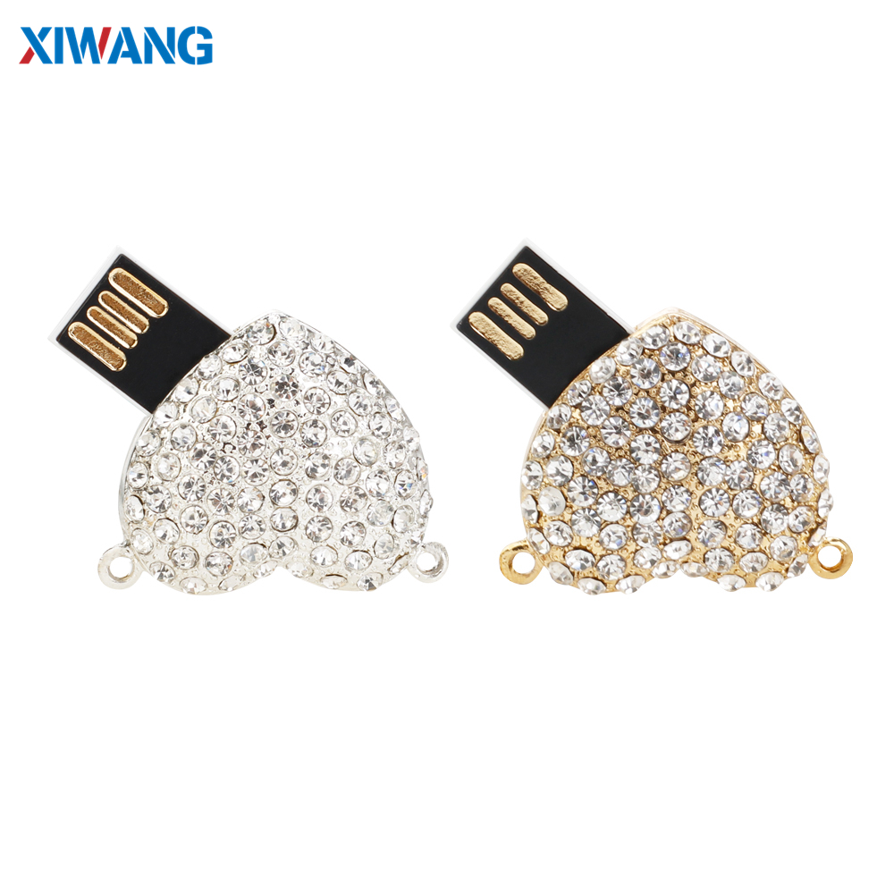 Image 2 - Crystal Necklace Heart USB Flash Drive 64GB 32GB Pen Drives 128GB 16GB 8GB 4GB USB 2.0 Pendrive Jewelry Memory Stick Girls Gift-in USB Flash Drives from Computer & Office