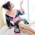 Новый Женский Дамы Сексуальное Женское Белье Косплей Кимоно Ночь Платье + Стринги + Пояс Пижамы XL050