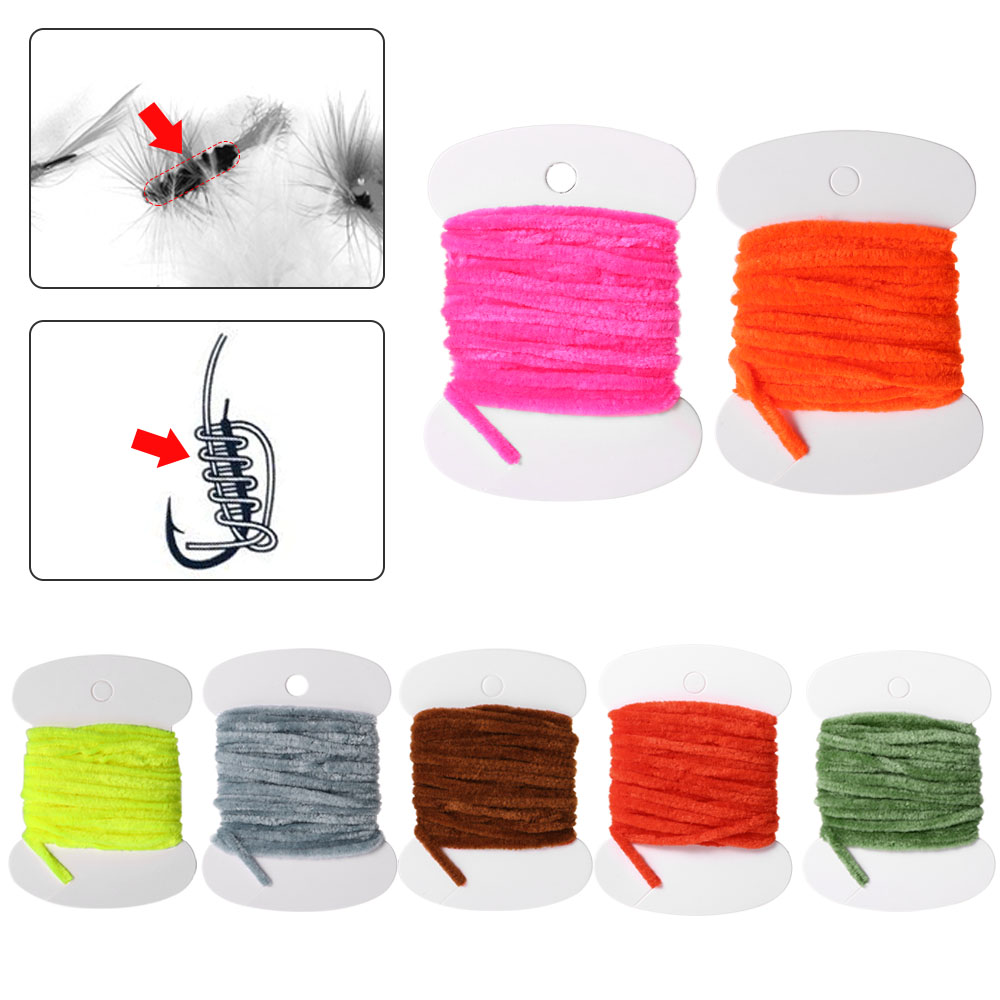 Card of Rayon Chenille 3.0m Fly Fishing Worms Chenille Floss Line Thread Woolly Fly Tying Materials Carp Fishing Tackle Pesca