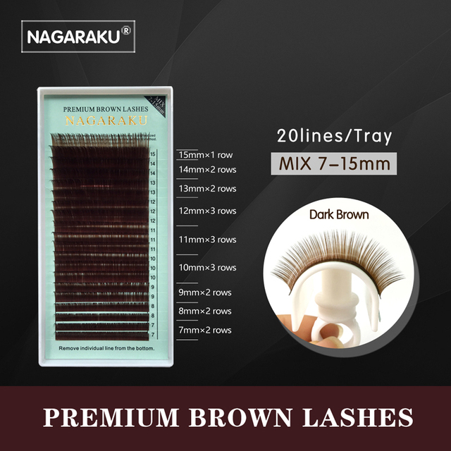 NAGARAKU Mix 7~15mm in one case,Individual Eyelashes False Mink Colored Fake Natural Eyelash Extension Color Eyelash Brown