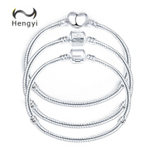 Hengyi 5 Style Silver Color LOVE Snake Chain Bracelet & Bangle 17CM-20CM DIY Jewelry
