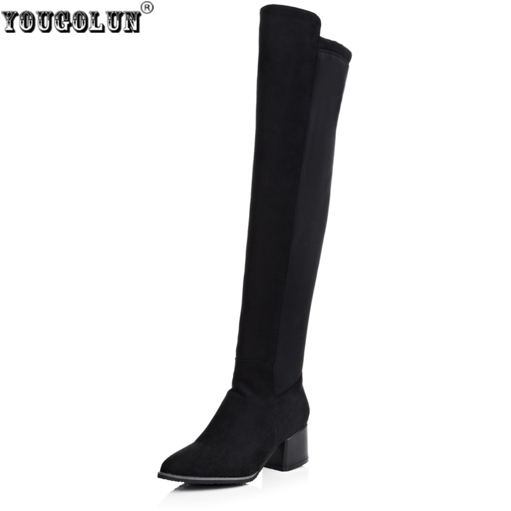 YOUGOLUN women over the knee boots woman autumn winter stretch nubuck thigh high boots suede high square heels pointed toe shoes 2016 autumn winter hot selling royal blue suede over the knee high heel boots round toe thick heels high boots for woman