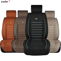 Linen Fabric Universal Car Seat Cover Set Red Car Styling Fit Most Car Interior Accessories Sedans