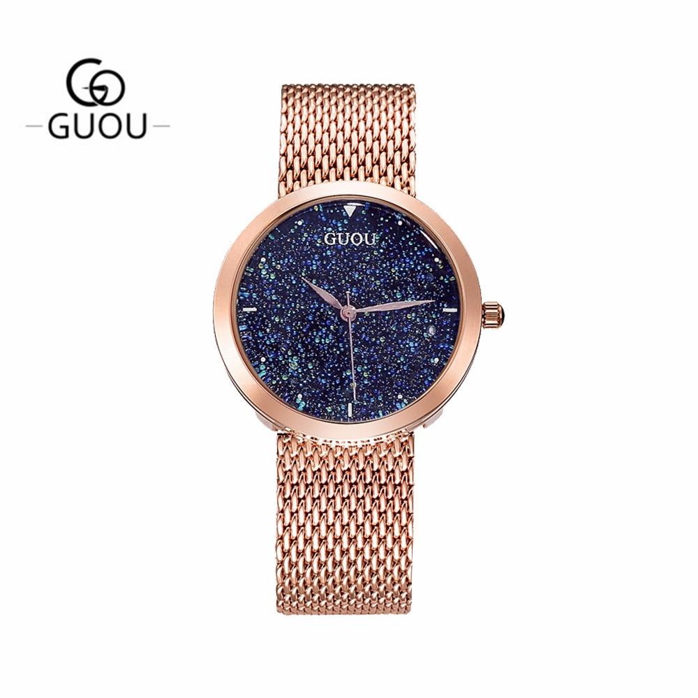 GUANQIN GS19051 Top Nova Marca de Relógios Das Senhoras Das Mulheres relógio de Pulso À Prova D' Água com Céu Preto Dial e Pulseira de Couro - 2