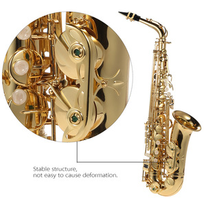 Image 3 - Ammoon bE Alto Saxphone E Flat Sax mosiądz lakierowany złoty 802 klucz Woodwind z ściereczka do czyszczenia szczotka rękawice etui na pasek