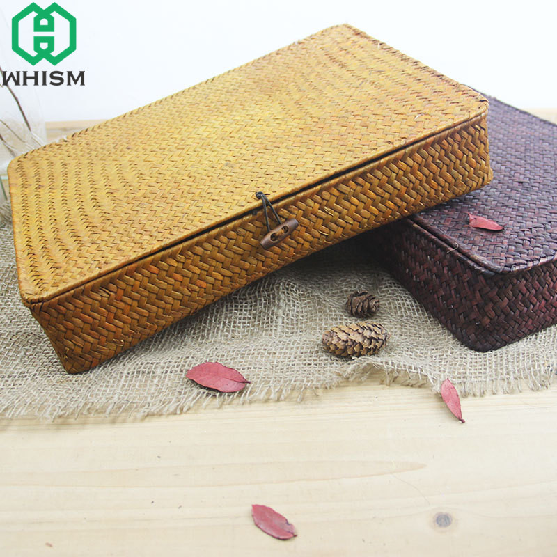 WHISM Handmade Wicker Basket Cosmetic Makeup Organizer Jewelry
