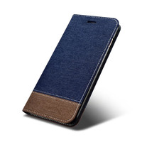 Fashion Original Splicing Cowboy Jean PU Leather Flip Card Holder Stand Cover Case For Apple IPhone