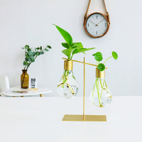 Creative Light Bulb Shaped Glass Vase Ornaments Green Hydroponic Plant Holder Desktop Crafts Vase Home Decor Accessories Gifts
