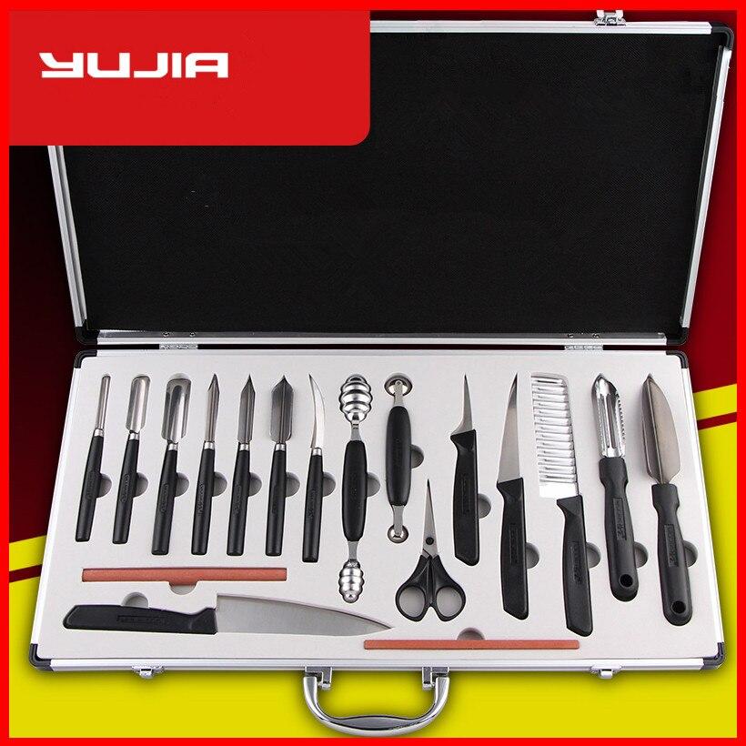Livraison gratuite cuisine fruits Sculpture Knives18 PCS Set Chef multifonctionnel couteau à découper assortiment plats froids couteaux sculptés