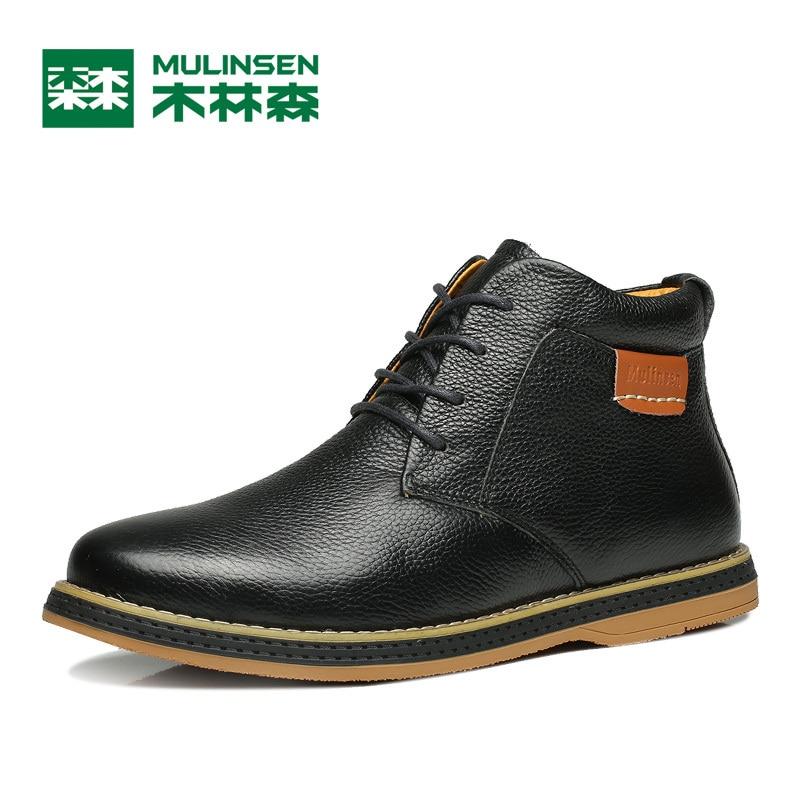 ФОТО Mulinsen Autumn&Winter Men Sports Hiking Shoes Black/Blue/Brown Sport Shoes Genuine Leather Wear Non-slip Outdoor Sneaker 260105