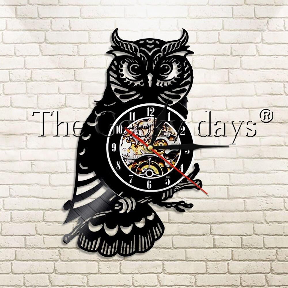 1Piece Owl Modern Design Vinyl Record Wall Clock Wild Animal Kid Room Home Decor Wall Wach Time Clock For Owl Hobby Gift