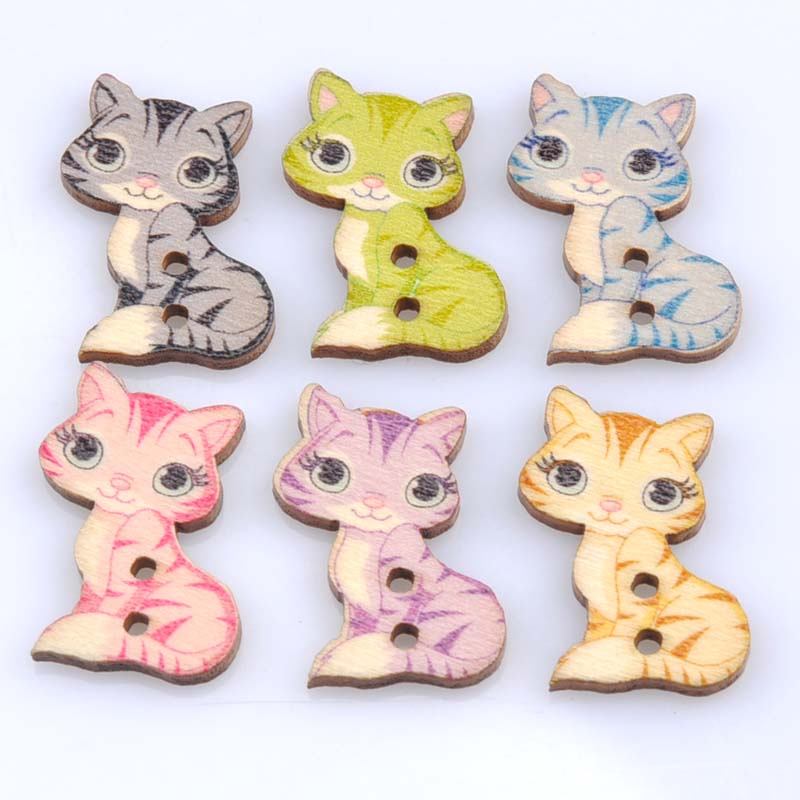 50pcs 26x16mm mixed cat painted wooden decorative buttons for Decorative pins for crafts