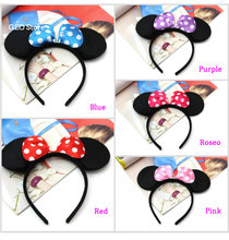 Cute Christmas Red Bows Minnie Mouse Ears Party Kids Headbands Hair bands birthday supplies Accessories