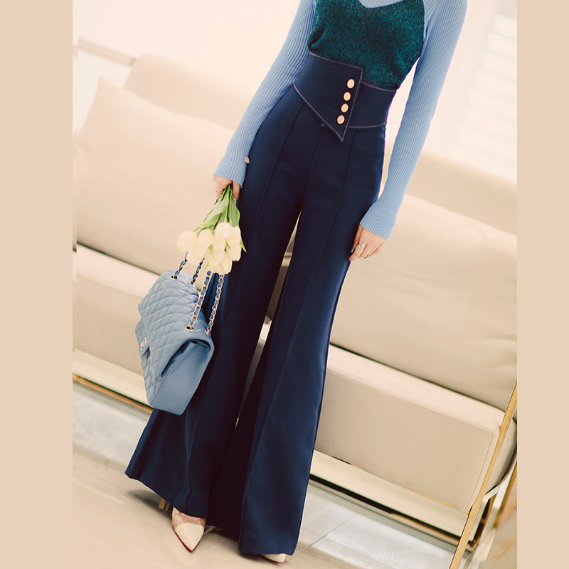 [MENKAY] 2018 Spring Summer Chic Irregluar Belt High Waisted Loog Loose Wide Leg Pants Women Casual Flare Pant New